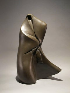 They're Coming, bronze, shrouded abstract figure, brown patina, life casting