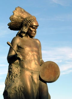 Beat of the Drum, bronze, Native American man with Drum, headdress Paul Moore