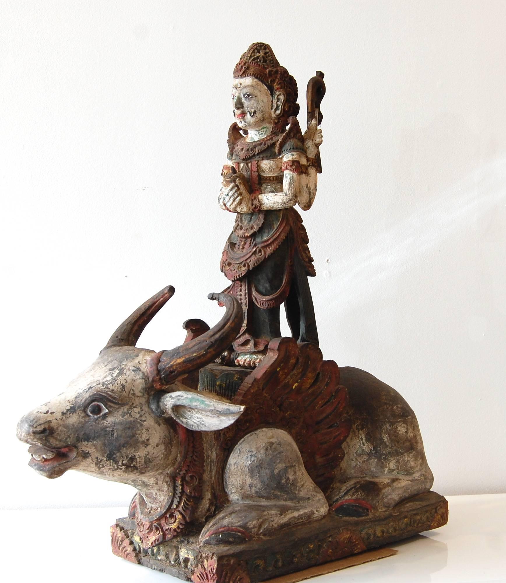 Shiva Standing On The Bull Nandi Wood Sculpture