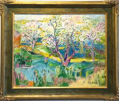 Landscape with trees in bloom.