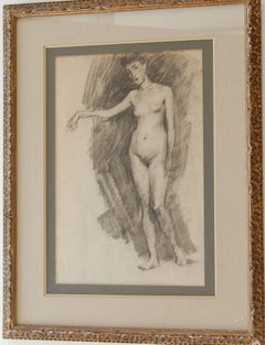 French School Female Nude Pencil Drawing