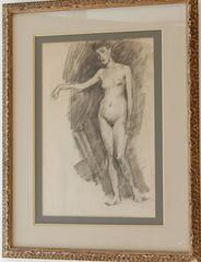 French Pencil Drawing Female Nude Figure