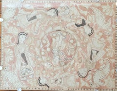Traditional Indian Mithila Painting with Figures and Birds Watercolor on Paper