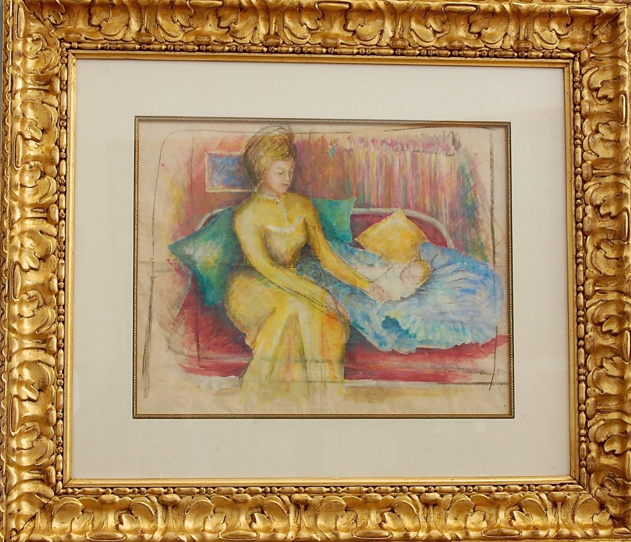 Woman And The Baby Watercolor