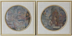 Pair of Antique Thai Warrior Paintings
