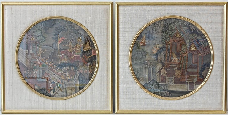 Unknown Landscape Painting -  Thai Warriors Paintings Pair
