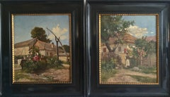 Hungarian Early 20th Century Landscape with Man and Woman