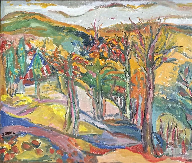 Vibrant Landscape with Mountains and Trees - Fauvist Painting by Jehudith Sobel