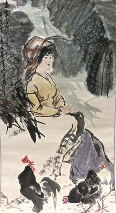 Woman with Rooster Chinese Watercolor And Ink
