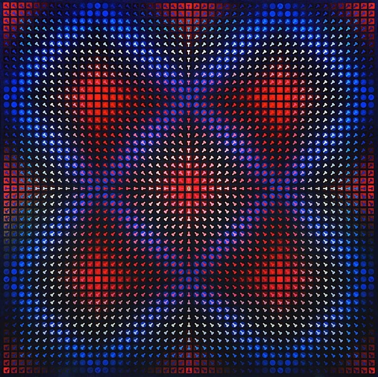 Pawel Wasowski Abstract Painting - Blue and Red Princess Snow White Op Art