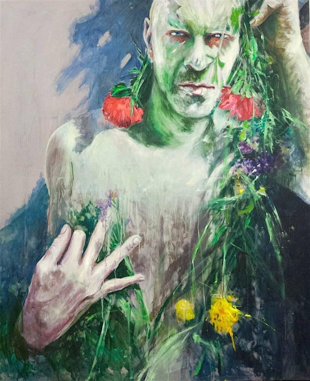 Igor Salata Figurative Painting -  Man Behind Flowers Large Contemporary Oil on Canvas