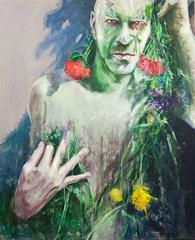 Man Behind Flowers Large Contemporary Oil on Canvas