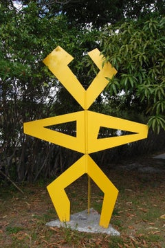 Large Yellow Garden Sculpture Geo-Man