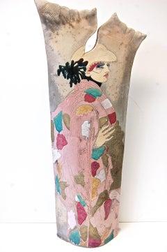 Large Raku Pottery Sculptrue Double-Sided