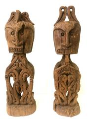Two Wooden Guardian Figures