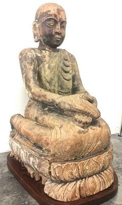 Buddhist Monk 19th Century Wood Sculpture