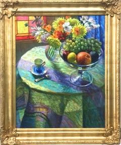 Impressionistic Still Life With Fruit And Flowers