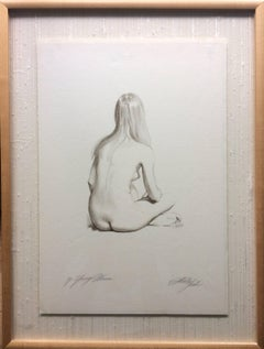 Pencil Drawing Nude Sitting signed illegibly