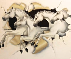 Through The Canvas Horse Painting