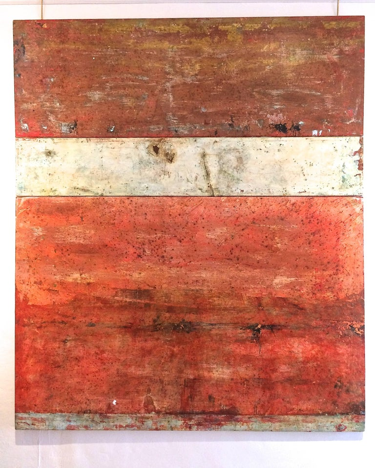 Scavi XLI Triptych Abstract - Painting by Marcia Myers