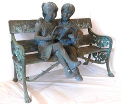 Children On The Bench Life Size Garden Sculpture Signed Illegibly