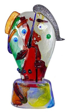 Murano Glass Homage to Picasso He & She Face Sculpture