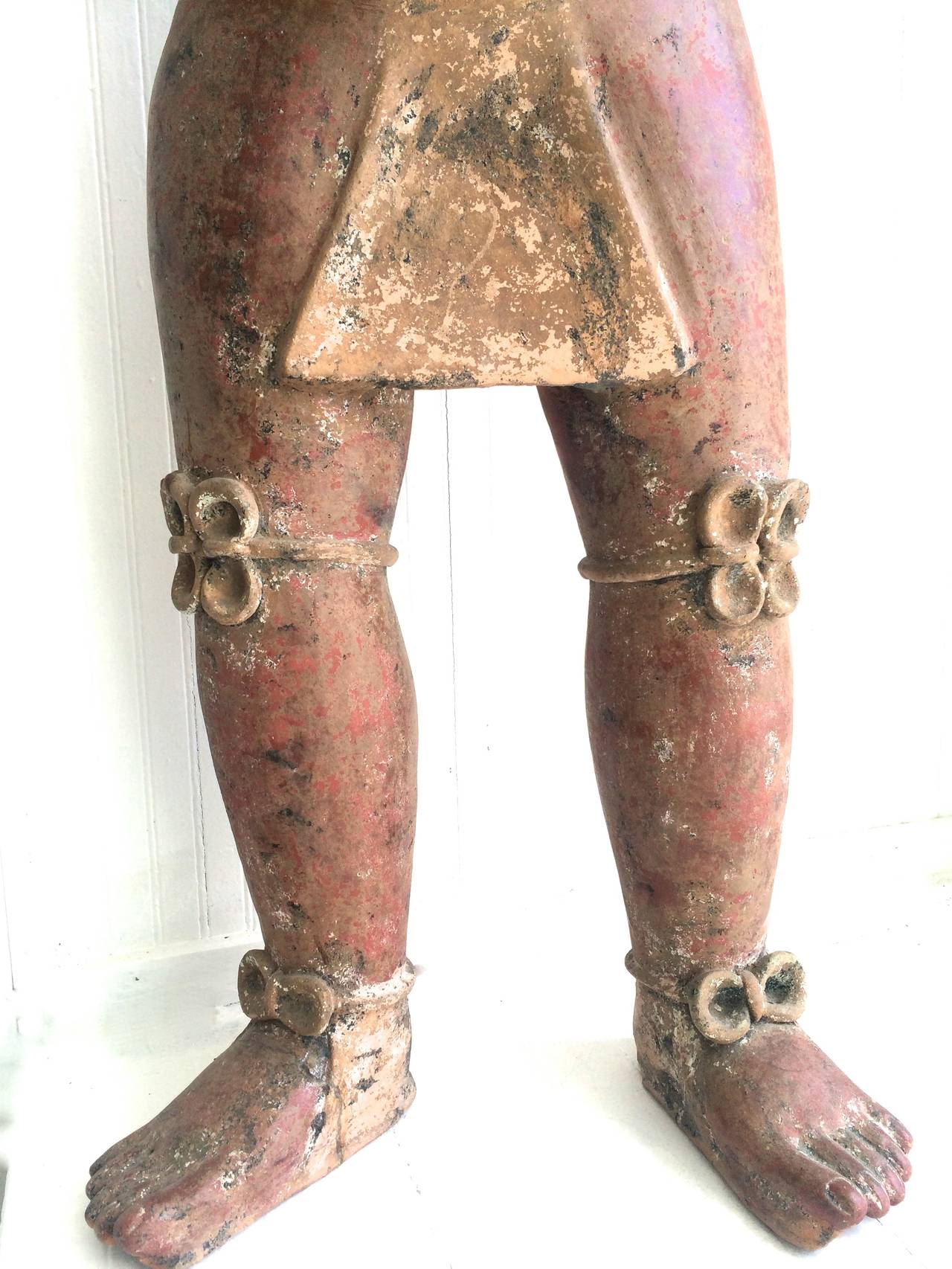 Great Mayan Clay Sculpture 49x27x9 Walter Bastianetto is on Italian born sculpture who moved to Mexico in the 1970's and resined there. Well-known artist for his original clay sculptures inspired by Mexico's Precolumbian life, mythology, and