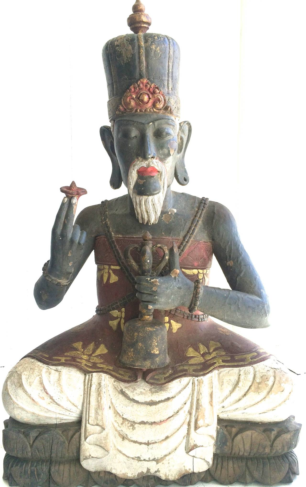 Antique High Priest Sitting on Lotus Wood Sculpture Bali For Sale 5