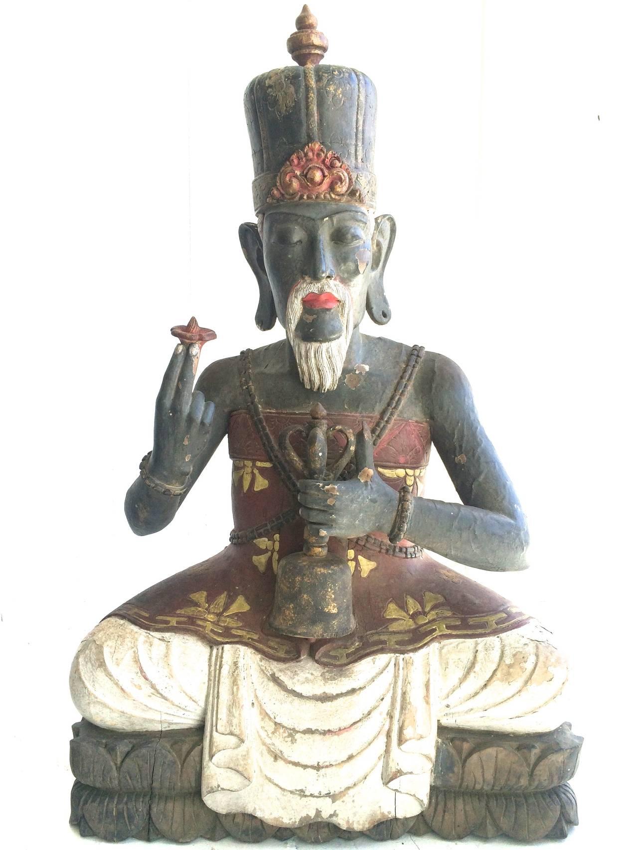 Unknown Figurative Sculpture - Antique High Priest Sitting on Lotus Wood Sculpture Bali
