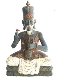19th C. High Priest Sitting on Lotus Wood Sculpture Bali