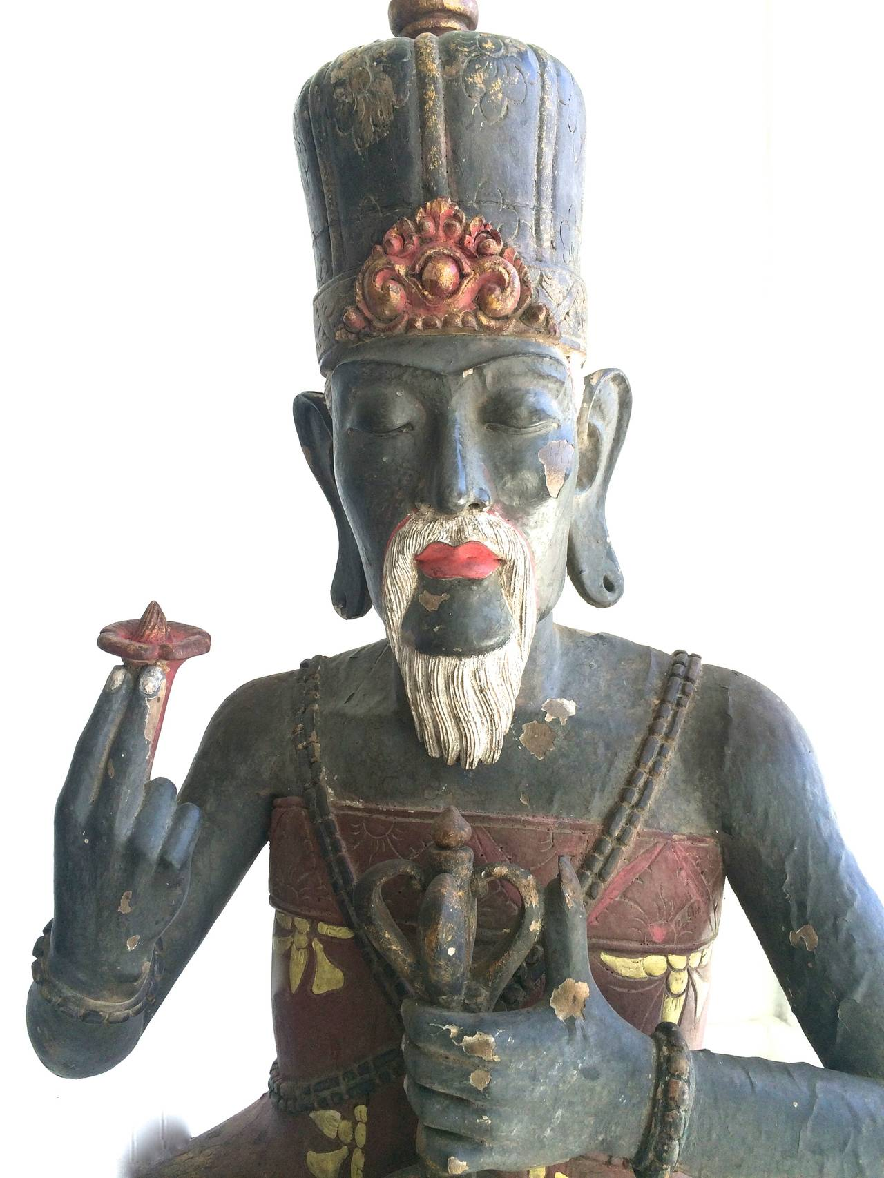 Antique High Priest Sitting on Lotus Wood Sculpture Bali - Gray Figurative Sculpture by Unknown