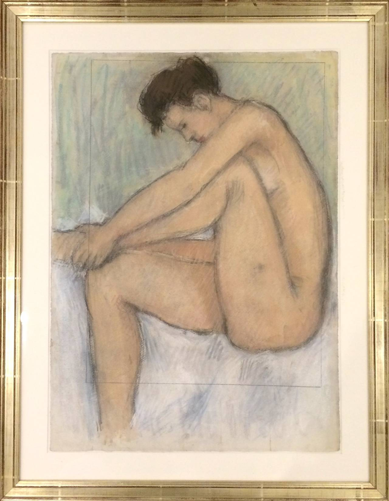 Nude Drawing Pastel on Paper