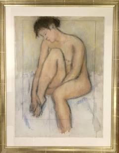 Nude Woman Pastel Drawing by American Woman Artist Mary Fairchild Low