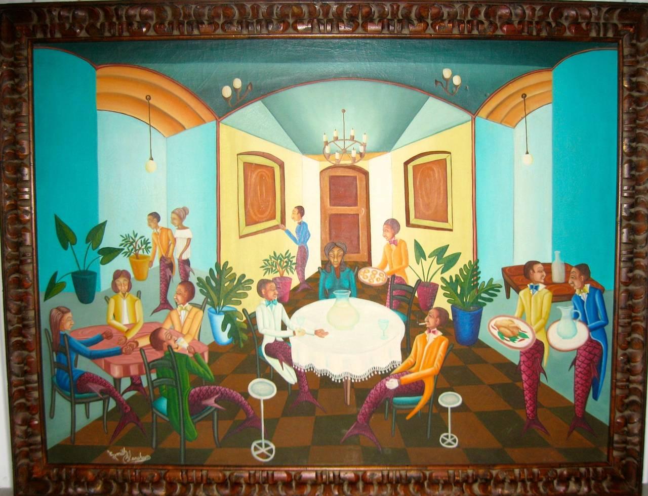 Surrealist Restaurant Scene with Mermades and Mermen 1