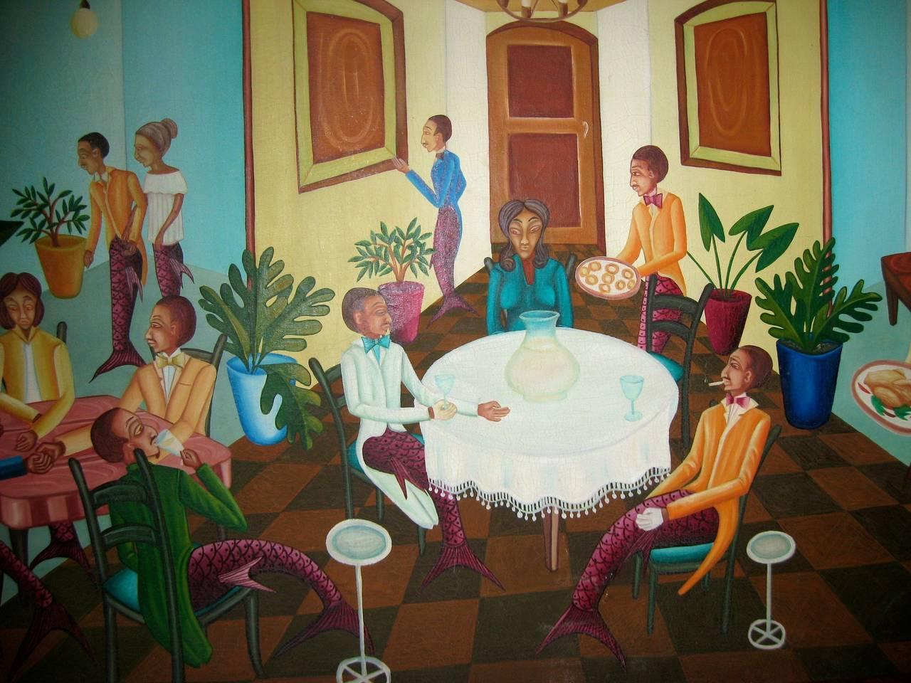 Surrealist Restaurant Scene with Mermades and Mermen 3