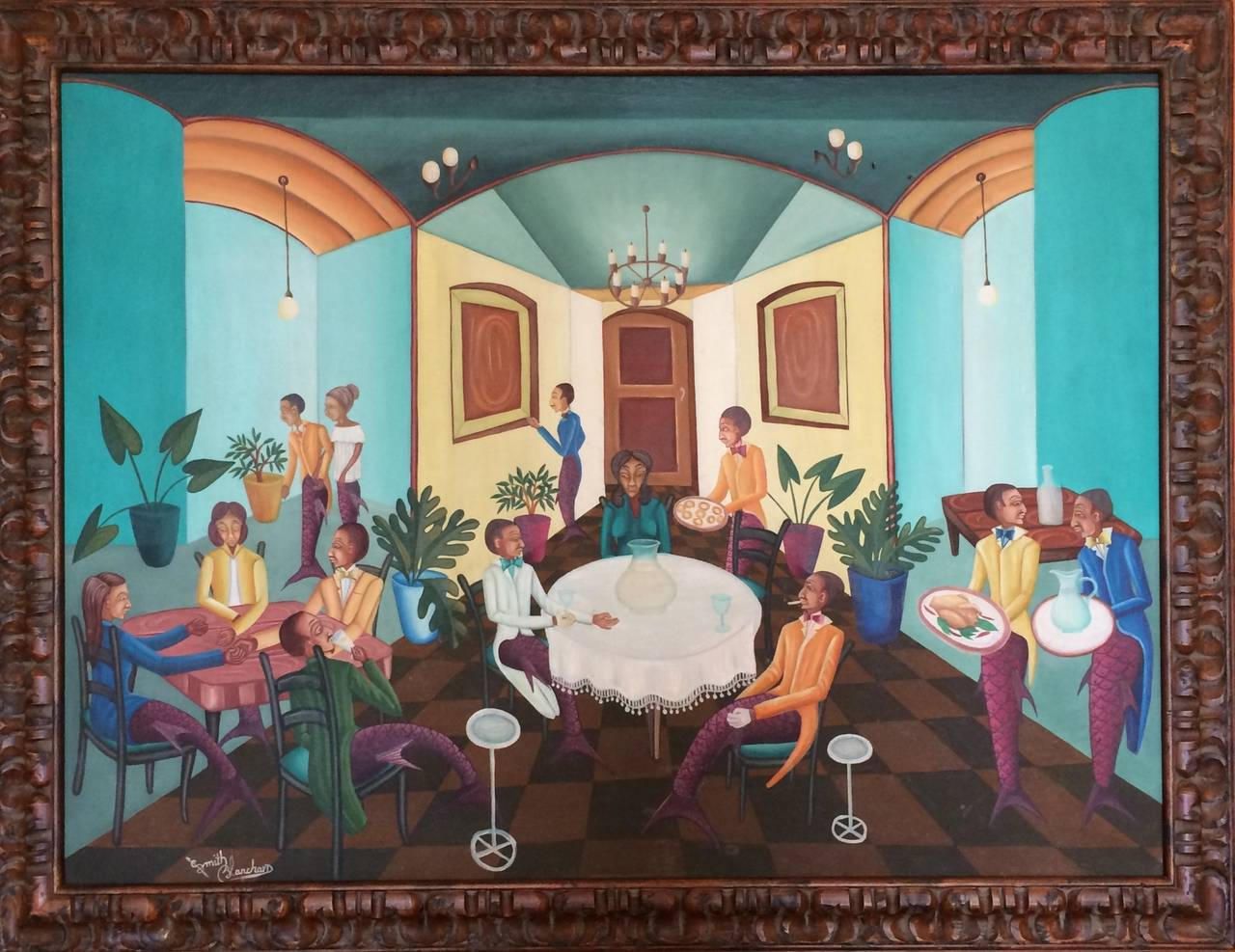 Surrealist Restaurant Scene with Mermades and Mermen 2