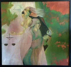 Unsigned Surrealism Oil painting Mid Century