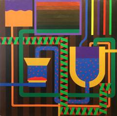 Red Mill Mural Large Geometric Abstract