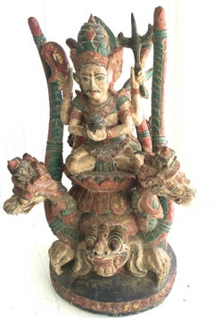 Vishnu Riding Dragon Serpents Wood Sculpture