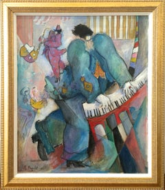Piano French Surrealism Oil on Canvas