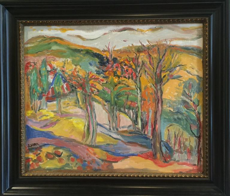 Vibrant Landscape with Mountains and Trees - Painting by Jehudith Sobel