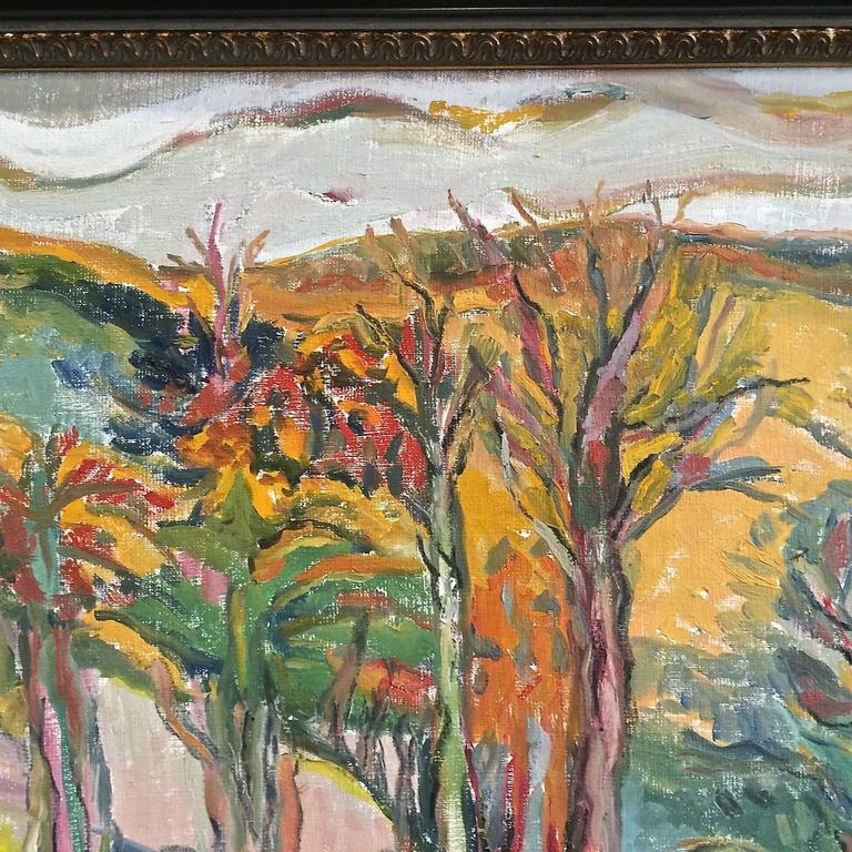 Vibrant Landscape with Mountains and Trees - Black Landscape Painting by Jehudith Sobel