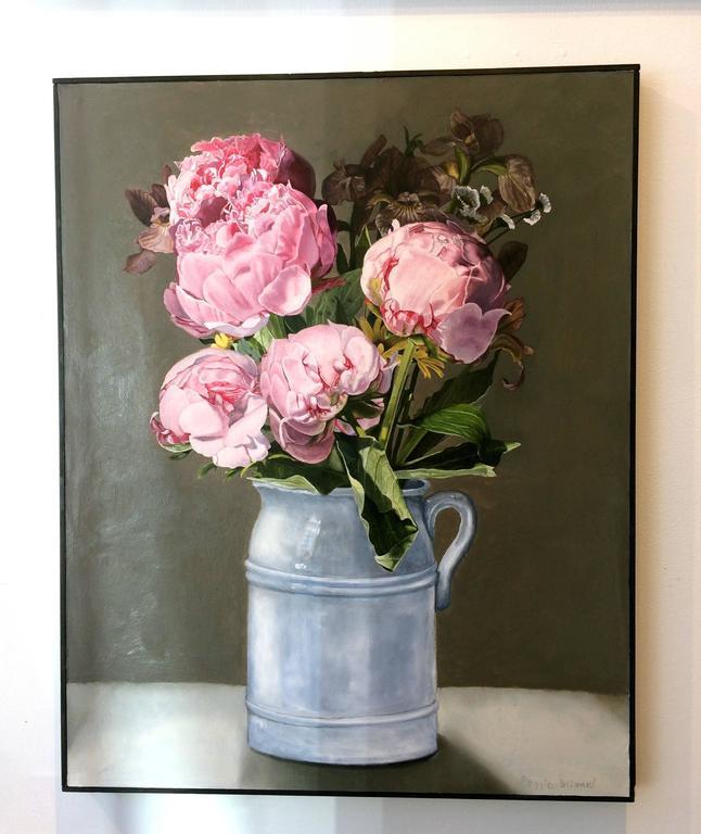Pink Peonies - Painting by Peggie Blizard
