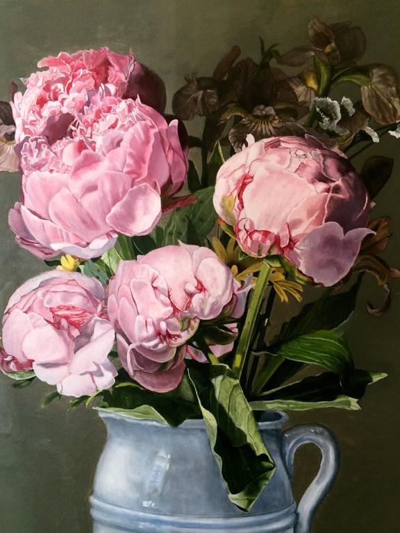 Pink Peonies - Realist Painting by Peggie Blizard