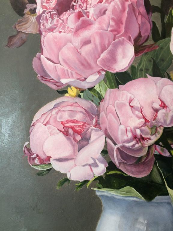 Pink Peonies - Brown Still-Life Painting by Peggie Blizard