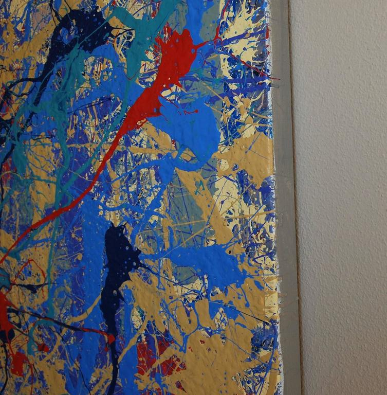 """Magic II"" Large Blue and Red Abstract Composition For Sale 1"