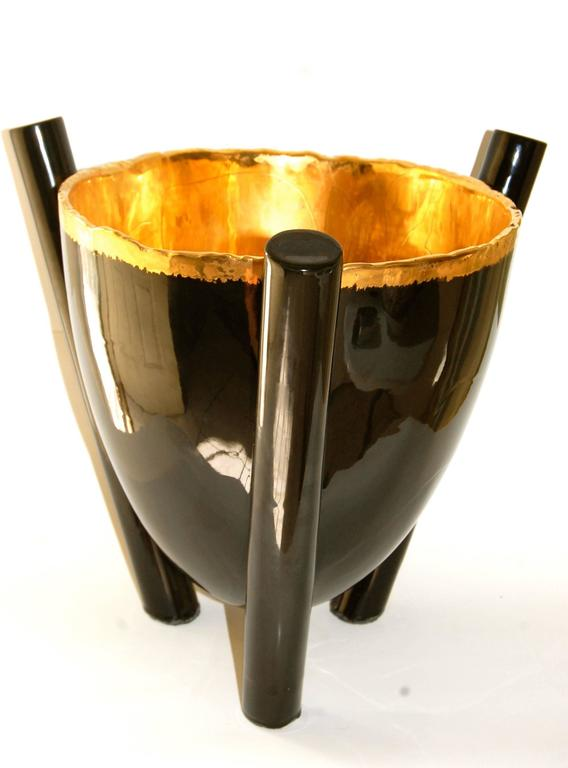 Large Black Gold Footed Bowl - Contemporary Sculpture by Larry Lubow