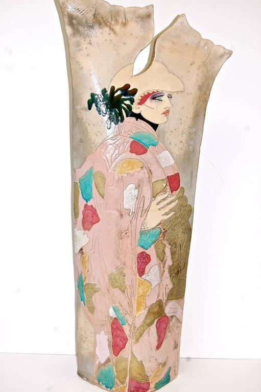 Large Raku Pottery Sculptrue Double-Sided  - Art Deco Sculpture by Steven Kemenyffy