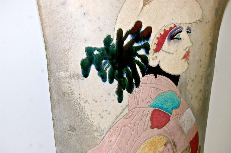 Large Raku Pottery Sculptrue Double-Sided  For Sale 2