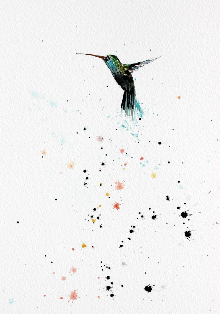 Hummingbird X Ink On Paper  in White Frame 2